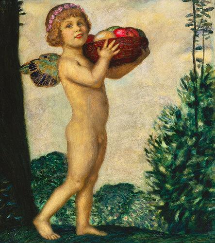 Erote mit Früchtekorb. Um 1920