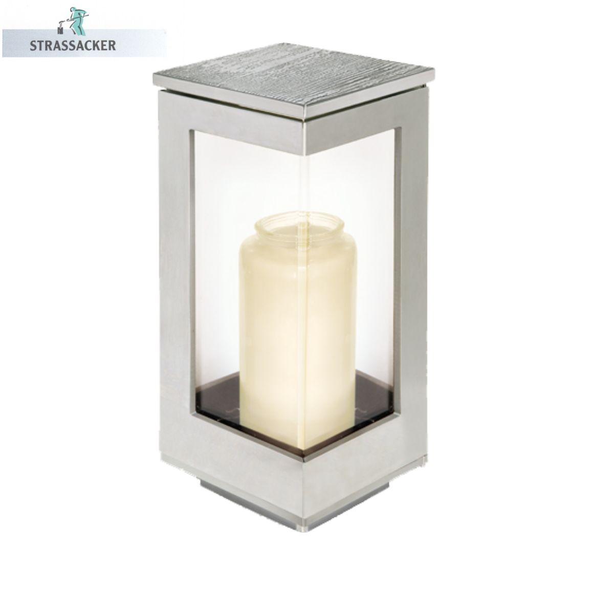 Moderne, Schlichte Grablampe Aus Edelstahl | Bronzebuchstaben