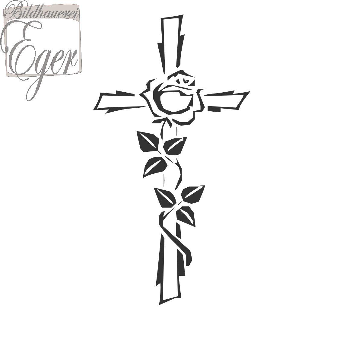 Kreuz Mit Rose 3 | Steinornamente / Grabornamente