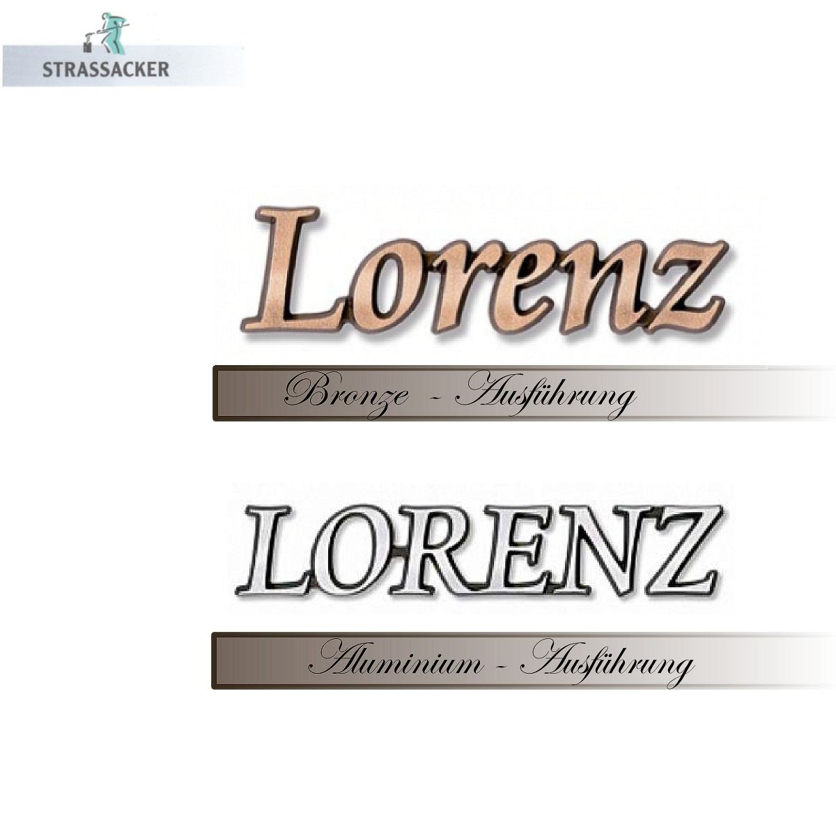 Bronzeschrift Und Aluminiumschriftzug Für Grabsteine Typ Lorenz