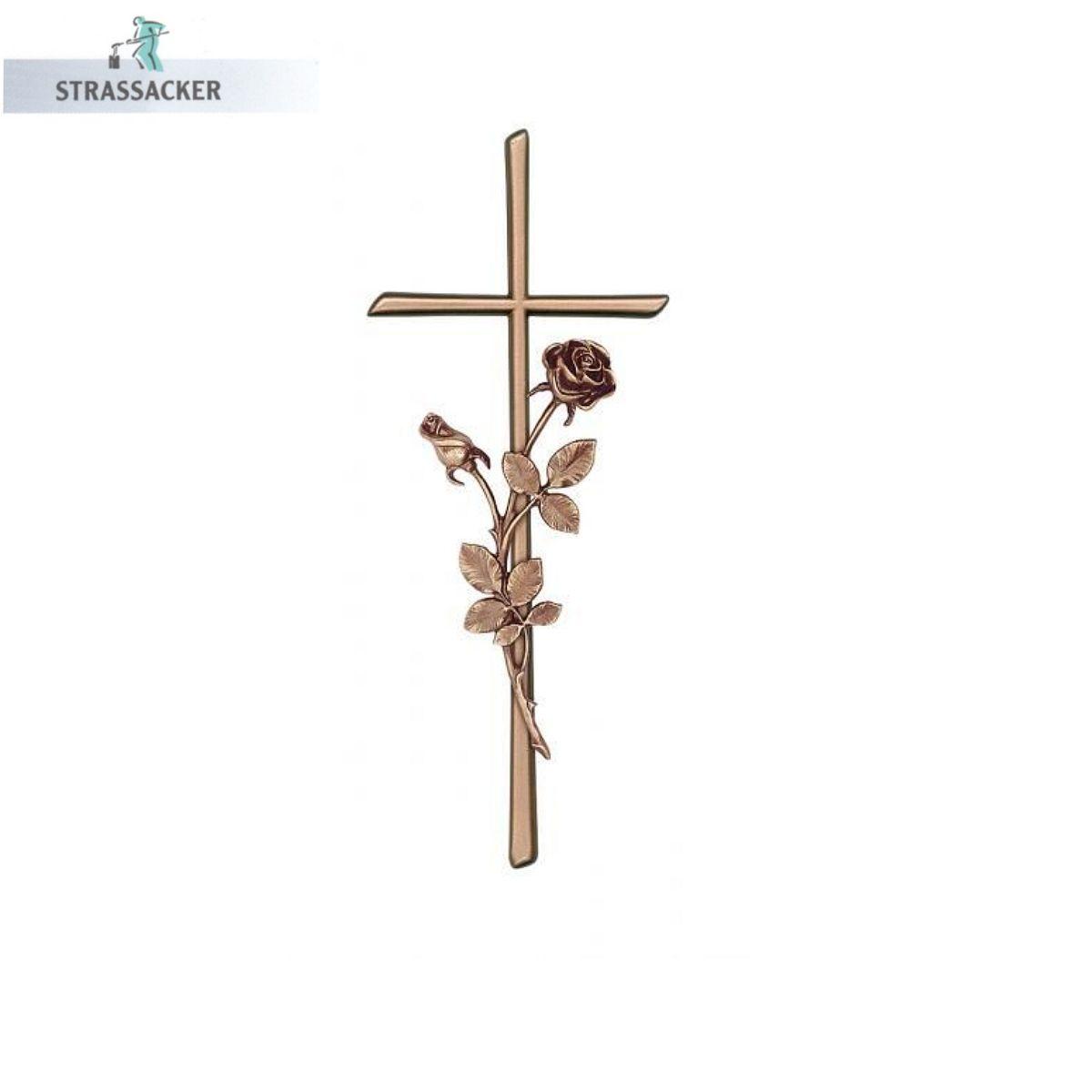 Grabsteinkreuz Mit Rosen Scriptura Aus Bronze, Aluminium Oder