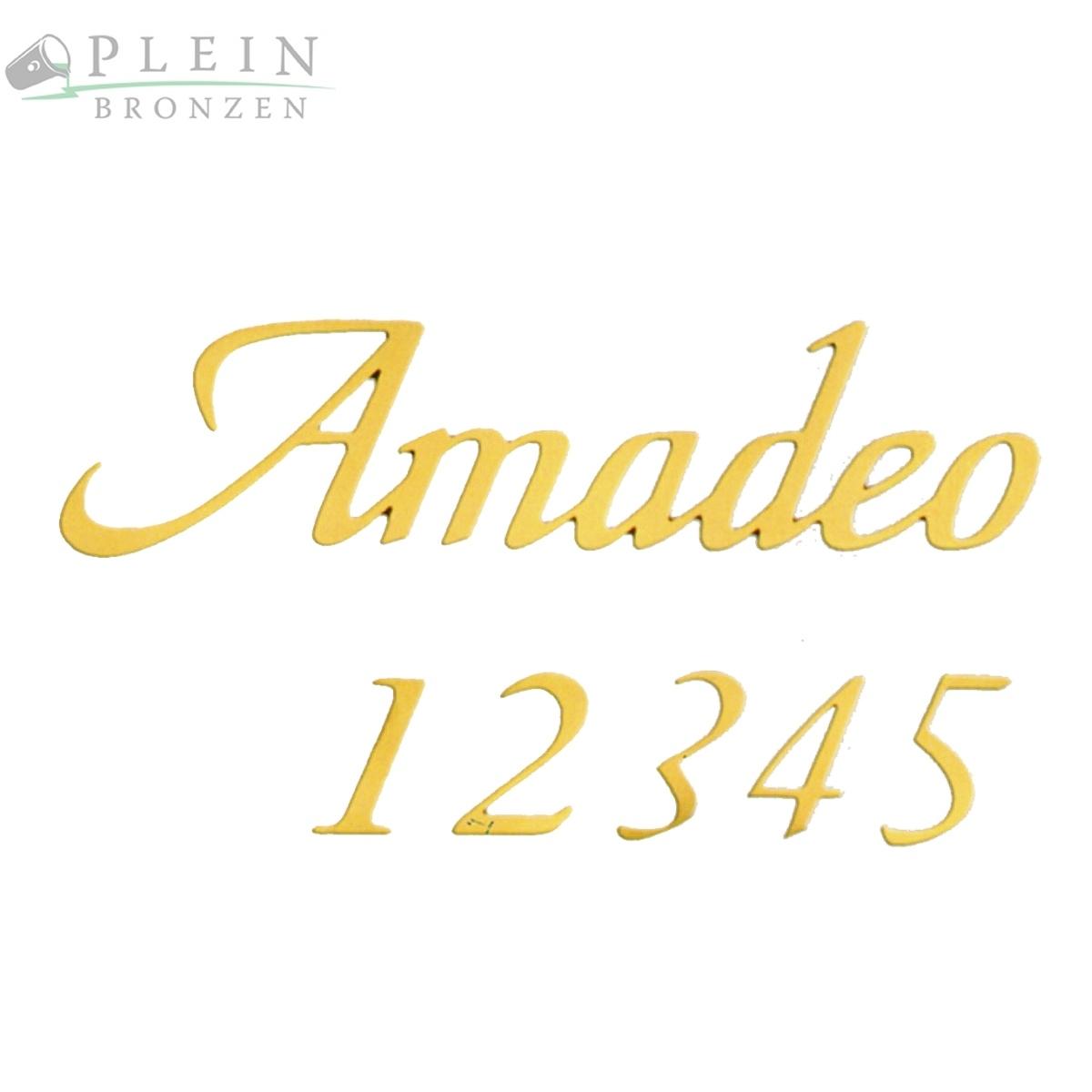 Schriftzug Amadeo Für Grabsteine, Aus Bronze / Messing Oder