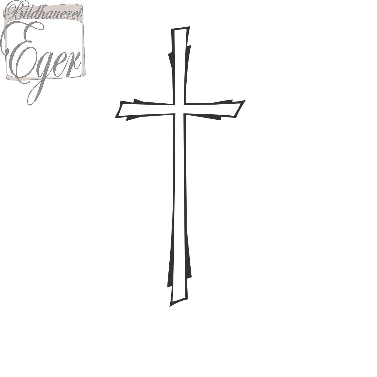 Vertieft Eingearbeitetes Grabsteinkreuz | Bronzebuchstaben