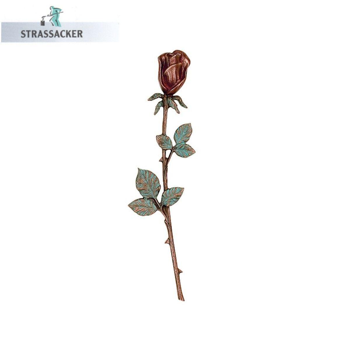 Langstielige Rose Aus Bronze Für Grabsteine - Bronzerose