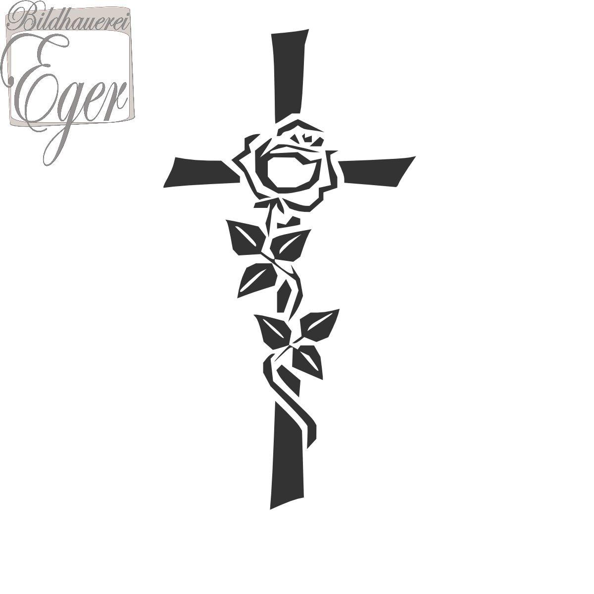 Kreuz Mit Rose 2 | Steinornamente / Grabornamente