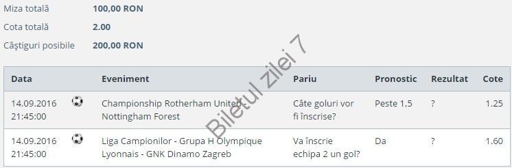 Biletul zilei fotbal COTA 2 (14.09.2016)