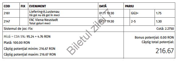 Biletul zilei cota 2 (01.11.2016)