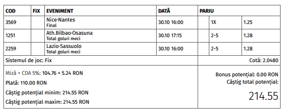 Biletul zilei cota 2 (30.10.2016)