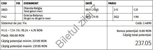 Biletul zilei fotbal 9 Noiembrie 2016
