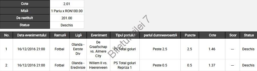 Biletul zilei fotbal 16 Decembrie 2016