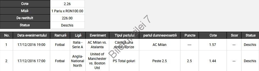 Biletul zilei fotbal 17 Decembrie 2016