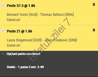 Biletul zilei tenis 15 Ianuarie 2017