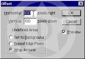 Şimdi Layer/Flatten Image seçeneğiyle tüm layerlerimizi birleştirelim. Layerlerimizi birleştirdikten sonra Filter/Other/Offset seçeneğine aşağıdaki değerleri girin.