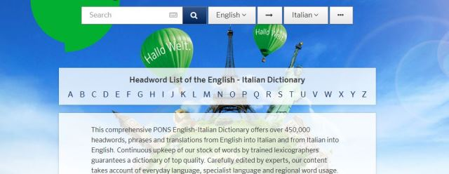 Pons dictionary learn English for free