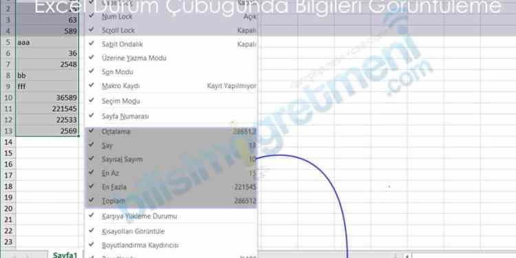 Excel'de Durum Çubuğunda Özet verileri Görüntüleme