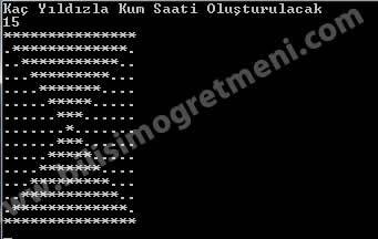 C# Console Örnekleri – Kum Saati Prrogramı