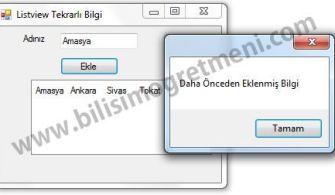 Visual Studio C# Dersleri – Listview'e aynı (tekrarlı) eleman eklenmesini engellemek