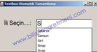 Visual Studio C# Dersleri – C# Textbox Otomatik Kelime Tamamlama
