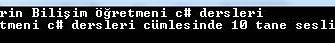 C# Örnekleri – Girilen Bir Cümledeki Sesli Harf Sayısını Bulan Console Uygulaması