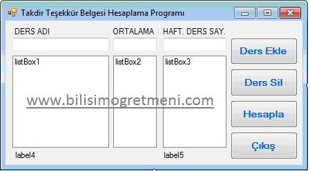Visual C# Takdir Teşekkür  Hesaplama Programı