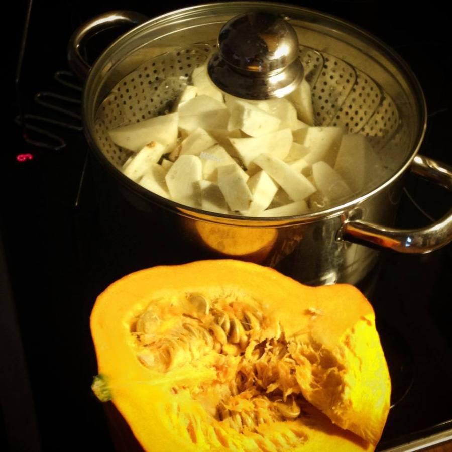 Küchenschlacht mit Hokkaido Sellerie Püree