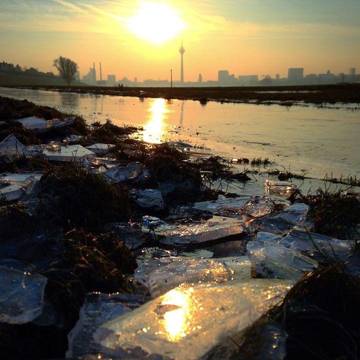 … und da wird es wieder winterlich am Rheinufer.