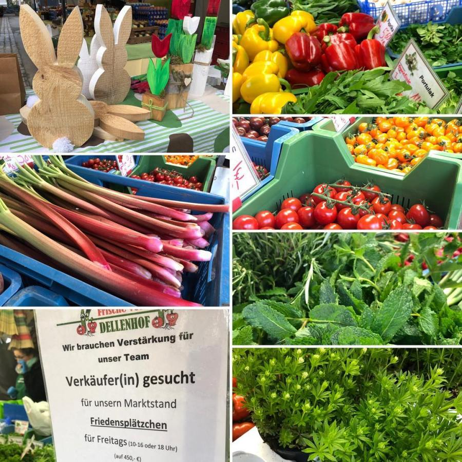 Einmal kurz einen Blick über den Bauernmarkt schweifen lassen und : Jaaaa, es gibt wieder Tomaten :-) Aber auch den ersten Rhabarber, Waldmeister, frischen Bärlauch, Paprika und natürlich viel, viel OsterDeko aus Holz.