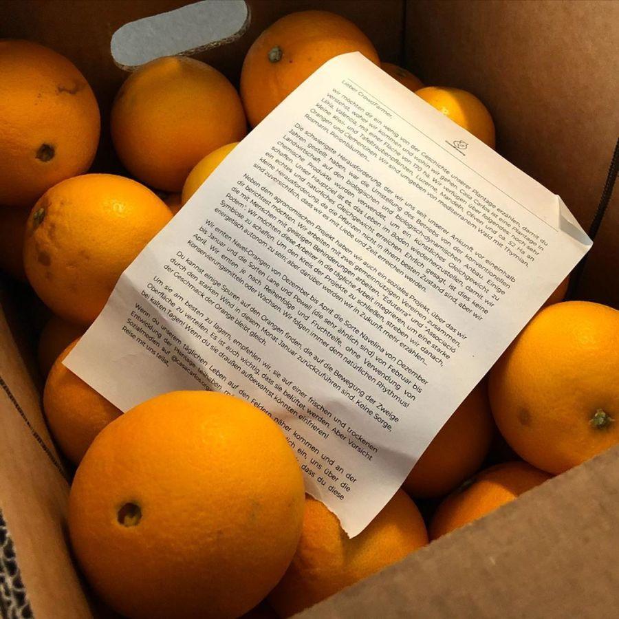Wenn die ganze Küche herrlich nach Orangen riecht :-) Ein Teil der Ernte des Orangenbaumes aus Spanien konnte ich gerade bei der Post abholen… freuen uns schon seit Tagen auf den ersten frisch gepressten Saft und das Müsli mit den Orangen vom Bauern Sergio. Die Landwirte die bei @crowd_farming  organisiert sind bauen Orangen ohne Pestizide an, ernten sie direkt vom Baum und schicken sie einem nach Hause, ohne sie mit Wachsen oder anderen Konservierungsmitteln zu behandeln…
