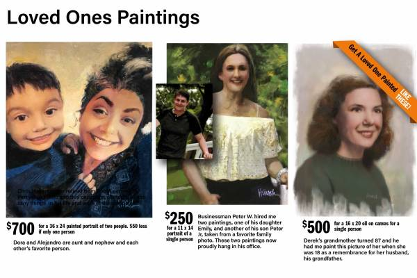 Loved Ones Hand Painted Oil Portraits paintings