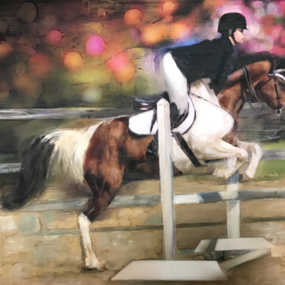 daughter and horse portrait painting commission