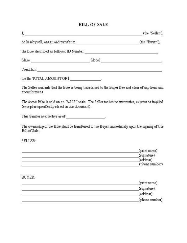 Bike Bill of Sale Form