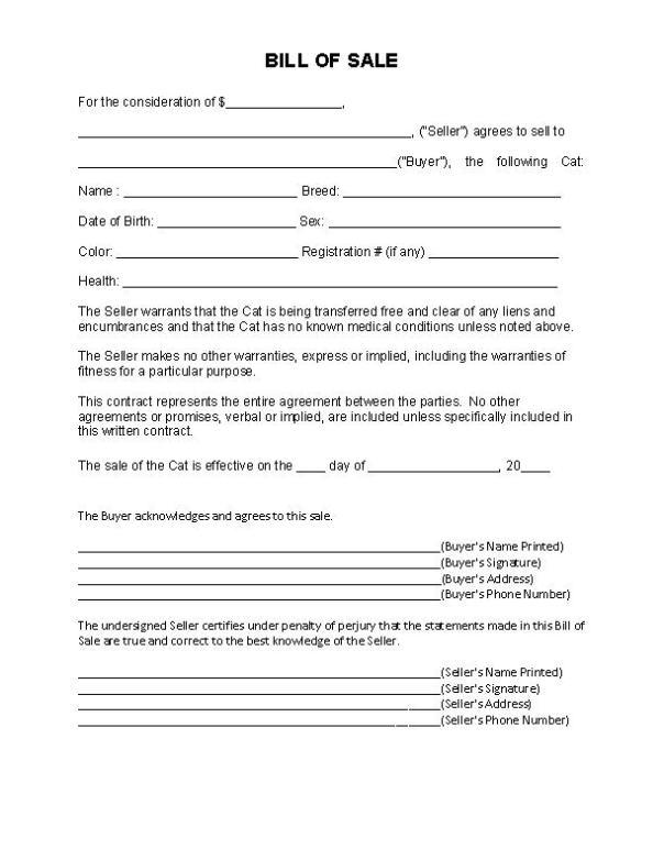 Cat Bill of Sale Form