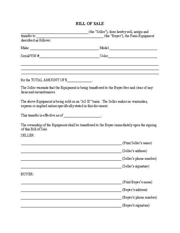 Farm Equipment Bill of Sale Form