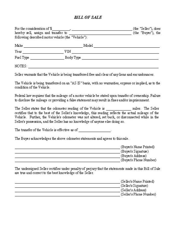 Indiana RV Bill of Sale Form