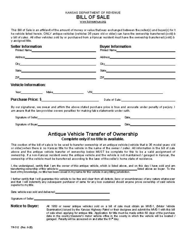 Kansas DMV Bill of Sale Form