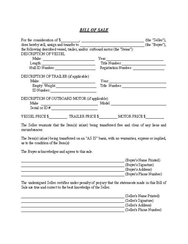 North Carolina Boat Bill of Sale Form