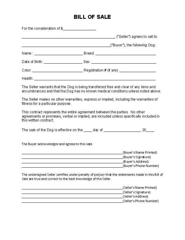North Carolina Dog Bill of Sale Form
