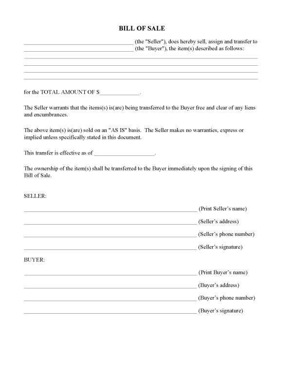 North Carolina Generic Bill of Sale Form