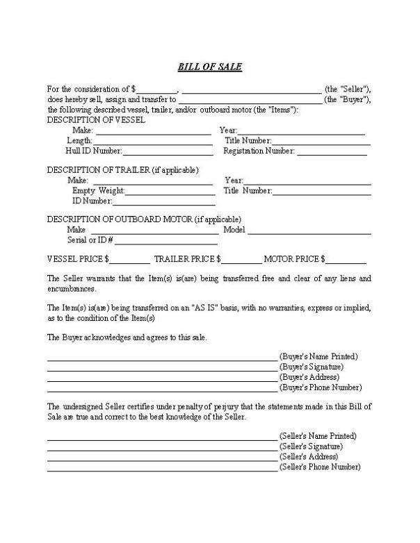 South Carolina Boat Bill of Sale Form