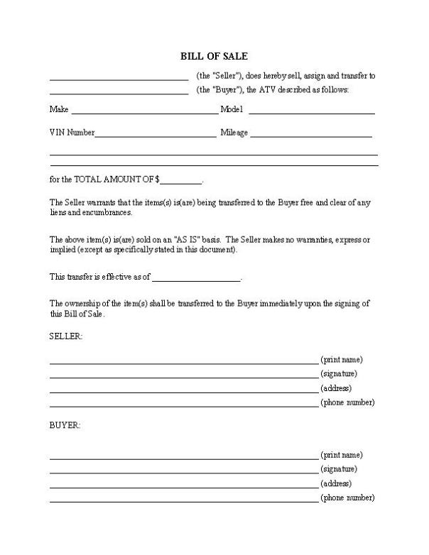 State ATV Bill of Sale Forms