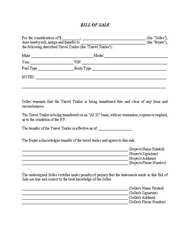 Travel Trailer Bill of Sale Form