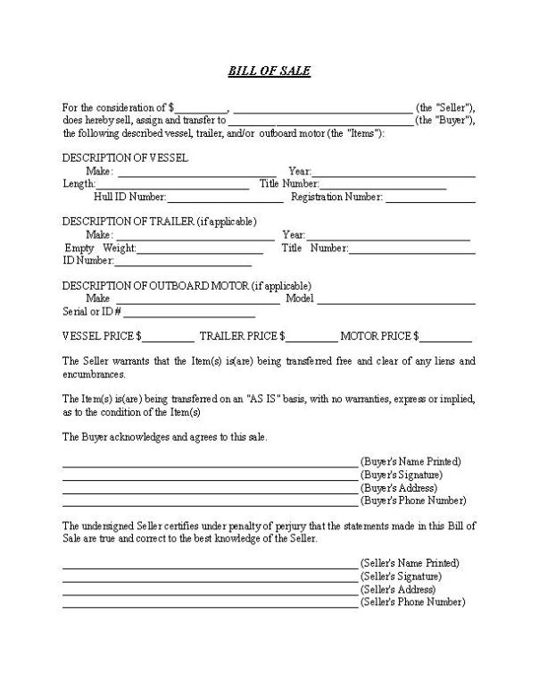 Bill of Sale Form For Boat and Trailer