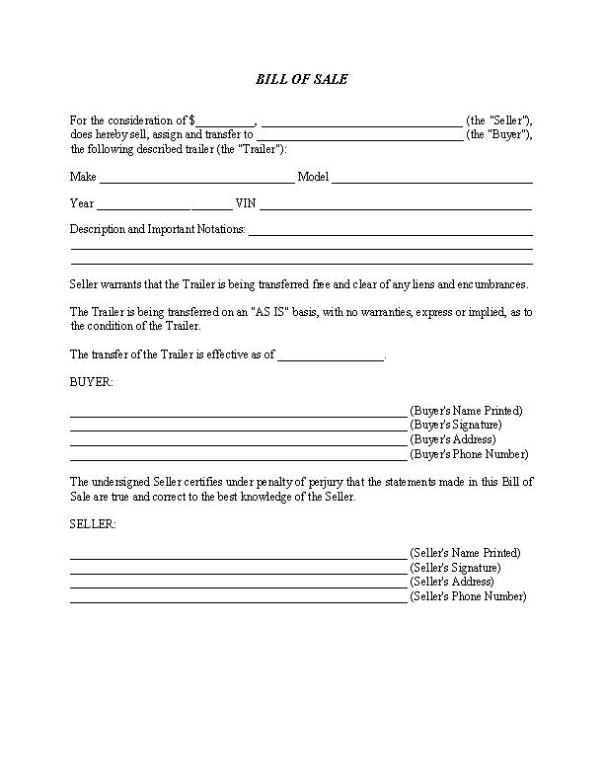Bill of Sale Form For Trailer