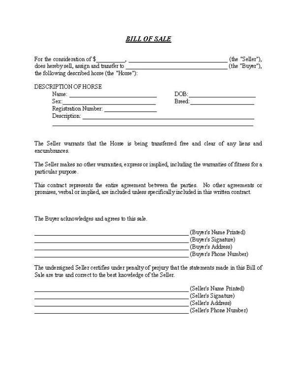 Equine Bill of Sale Form