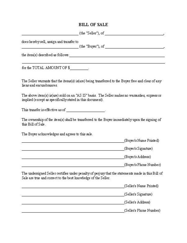 Generic Bill of Sale Form Word