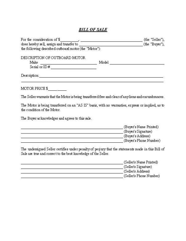 Outboard Motor Bill of Sale Form