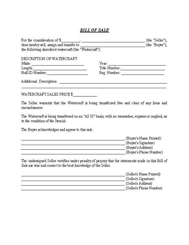 Watercraft Bill of Sale Form