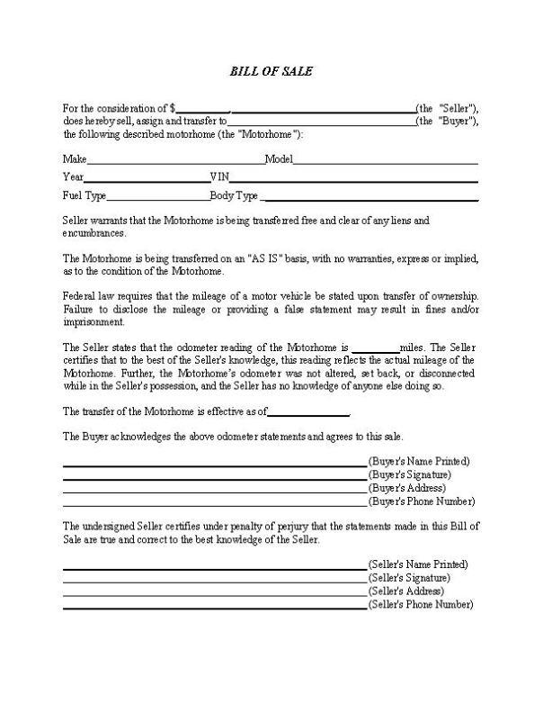 Motorhome Bill of Sale Form