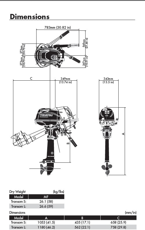 Tohatsu 5hp 4 Stroke Outboard Motor Engine Manual Start