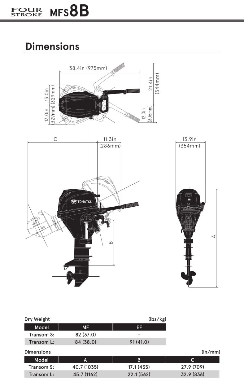 Tohatsu 8hp 4 Stroke Outboard Motor Engine Manual Start